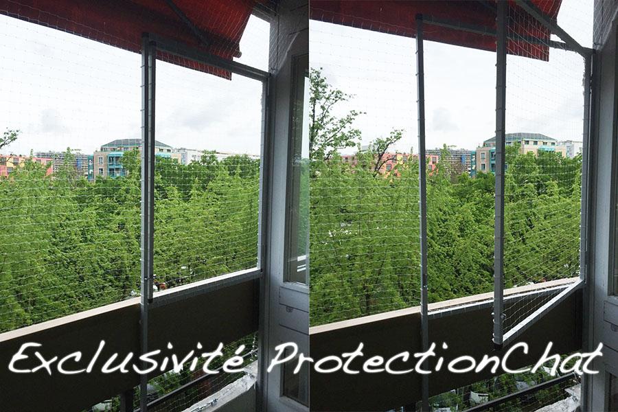 Filet de securite transparent sur balcon avec ouverture